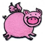"Applique - Flying Pig 2"", iron-on"