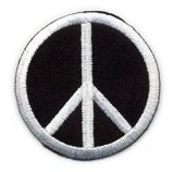 "Applique - Peace Sign - Black and White, 2"" wide"