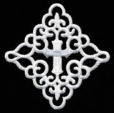 Iron-on Applique - Scrolled Cross #511835 - White, 3""