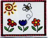 "Applique - Bee & Flower Woven Applique, 2 7/8"" x 2 1/8"""