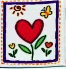 "Applique - Heart Shaped Flowers Woven Applique, 1 7/8"" x 2"""