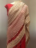 Silk Chiffon Saree Fabric - double border with hand sewn beads IF-SF018-01