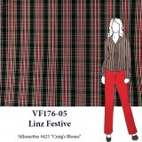 VF176-05 Linz Festive - Red-White-Black-Yellow Small Tartan Plaid Cotton Shirting Fabric