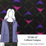 VF185-47 Cobham Compass - Fuchsia - Purple - Yellow Design on Black Wool Challis Fabric