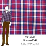 VF186-22 Krampus Plaid - Burgundy with White and Blue Designer Cotton Shirting Fabric