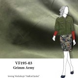 VF195-03 Grimm Army - Cross-Woven Loden Green with Black Brushed Cotton Duck Cloth Fabric