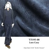 VF195-08 Lore Cozy - Dark Indigo and Black Stretch Corduroy Fabric by Telio
