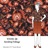 VF195-28 Snowdrop Foliage - Autumnal Bubble Crepe Georgette Stylized Floral Print Fabric