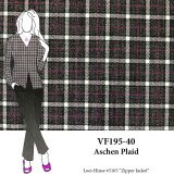 VF195-40 Aschen Plaid - Grey and White with Magenta Worsted Flannel Suiting Fabric