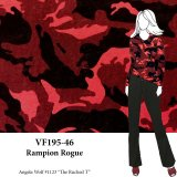 VF195-46 Rampion Rogue - Red and Black Lightweight Slubbed Camoflauge Knit Fabric