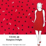 VF195-48 Rampion Delight - Black and White Tiny Polka Dots On Red Double Knit Fabric