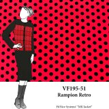 VF195-51 Rampion Retro - Black Polka Dots on Vibrant Red Silk Crepe Georgette Fabric