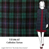 VF196-07 Culloden Tartan - Green-Blue-Red plaid Wool Blend Lightweight Coating Fabric