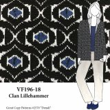 VF196-18 Clan Lillehammer - Teal-Black-Snow Novelty Textured Double-Knit Fabric
