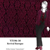 VF196-30 Revival Baroque - Magenta and Black Textured Novelty Double-Knit Fabric