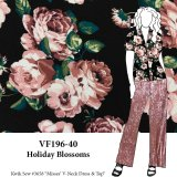 VF196-40 Holiday Blossoms - Rose Gold with Teal Liverpool Crepe Knit Floral Print Fabric