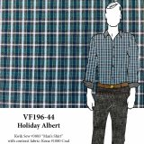 VF196-44 Holiday Albert - Teal-Navy-Grey-White Plaid Cotton Shirting Fabric