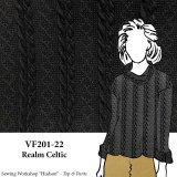 VF201-22 Realm Celtic - Black Rayon-Acrylic Extra Wide Cable Knit Fabric by Telio