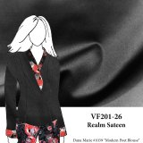VF201-26 Realm Sateen - Medium Weight Rich Black Stretch Cotton Fabric with Dull Sheen