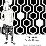 VF201-38 Parallel Hexagon - Black and Ivory Geometric Print on Lightweight Double Knit Fabric