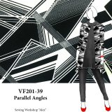 VF201-39 Parallel Angles - Black and Ivory Geometric Print on Lightweight Double Knit Fabric