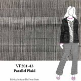 VF201-43 Parallel Plaid - Black and White Glen Plaid Polyester-Rayon Suiting Fabric