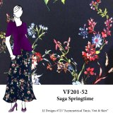 VF201-52 Saga Springtime - Floral Print on Dark Navy Rayon Challis Fabric