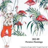 VF202-09 Permies Flamingo - Kitschy Novelty Linen Print Fabric