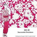 VF202-20 Succession Sweetness - Ivory and Cerise Medium Weight Floral Rayon and Linen Blend Fabric