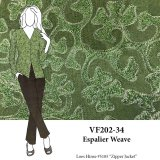 VF202-34 Espalier Weave - Olive Embroidered Raw Silk Suiting Fabric