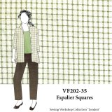 VF202-35 Espalier Squares - Olive on Ivory Lightweight Cotton Fabric