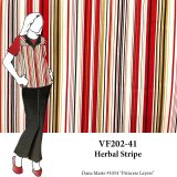 VF202-41 Herbal Stripe - Beige-Red-Black Stretch Cotton Sateen Print Fabric