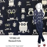 VF202-43 Themed Owls - Navy and Ivory Owl Double-Woven Cotton Reversible Jacket Fabric