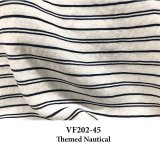 VF202-45 Themed Nautical - Navy Cord on Ivory Linen-Cotton Blend Lightweight Twill Fabric