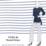 VF202-48 Themed Stripes - Peri-Blue and White Ponte di Roma Double Knit Fabric
