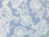 VF203-33 Roseau Segundo - Super Soft Cotton Knit Fabric with White Vines on Pale Blue Background
