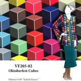 VF205-02 Oktoberfest Cubes - Jewel-tone Print with Stripe Borders on Lightweight Italian Polyester Twill Fabric