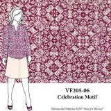 VF205-06 Celebration Motif - Magenta and Blush Polyester Blouseweight Print Fabric
