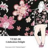 VF205-08 Celebration Delight - Large Stylized Floral on Polyester Dressweight SofTouch Crepe Fabric