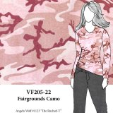 VF205-22 Fairgrounds Camo - Pale Pink and Rose Camouflage Cotton Blend T-Shirt Knit Fabric