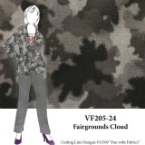 VF205-24 Fairgrounds Cloud - Medium Grey Abstract Printed Stretch Cotton Twill Fabric