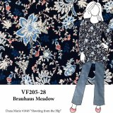 VF205-28 Brauhaus Meadow - Blue and Pink Floral on Wide Black Rayon Jersey Knit Fabric