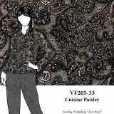 VF205-33 Cuisine Paisley - Brown and Grey Cotton Shirting Fabric