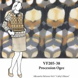 VF205-38 Procession Ogee - Brown Crinkled Polyester Chiffon Fabric