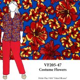 VF205-47 Costume Flowers - Bold Red and Gold Floral Print on Royal Blue Polyester Crepe de Chine Fabric