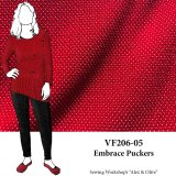 VF206-05 Embrace Puckers Textured Red Knit Fabric with Off-White Accents