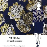 VF206-16 Hygge Blossoms - Golden Floral Brocade Fabric on Navy