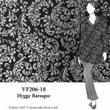 VF206-18 Hygge Baroque - Silver Scrolls on Black Matelassé Fabric