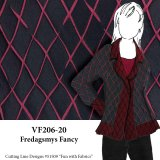 VF206-20 Fredagsmys Fancy - Reversible Burgundy and Black Brocade Fabric in Diamond Design