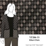 VF206-33 Khavi Dots - Taupe and Brown Reversible Stretch Cotton Fabric for Jacket or Coat